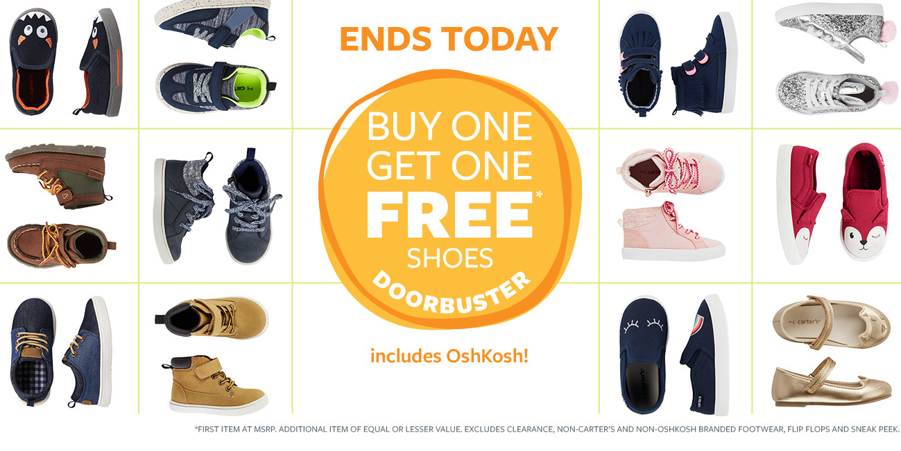 Ends Today! Buy One Get One Free Shoes Doorbuster
