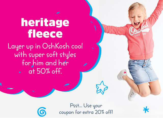 Heritage Fleece - Looks cool zipped up or down - 50% off*.