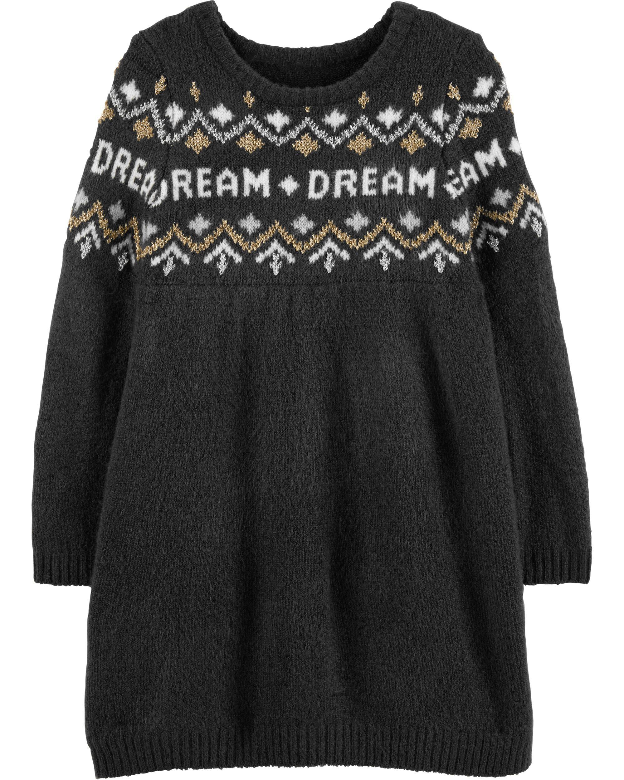 Black U-Knit Toddler Girls/' Faux Fur Hearts Sweater Dress 2T