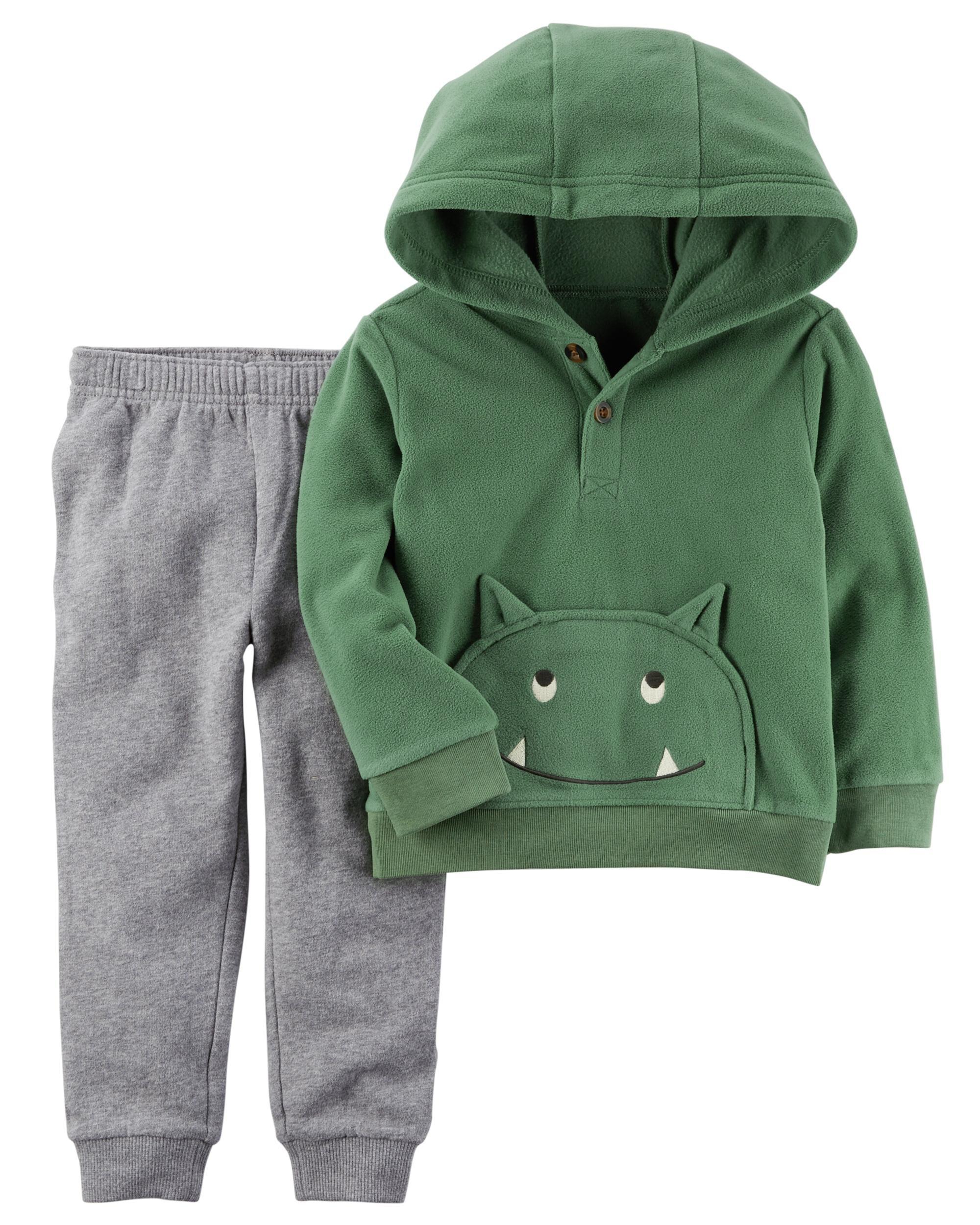 New Carters Toddler Boy 2-Piece Fox Fleece Hoodie /& Jogger Set 3T 4T 5T