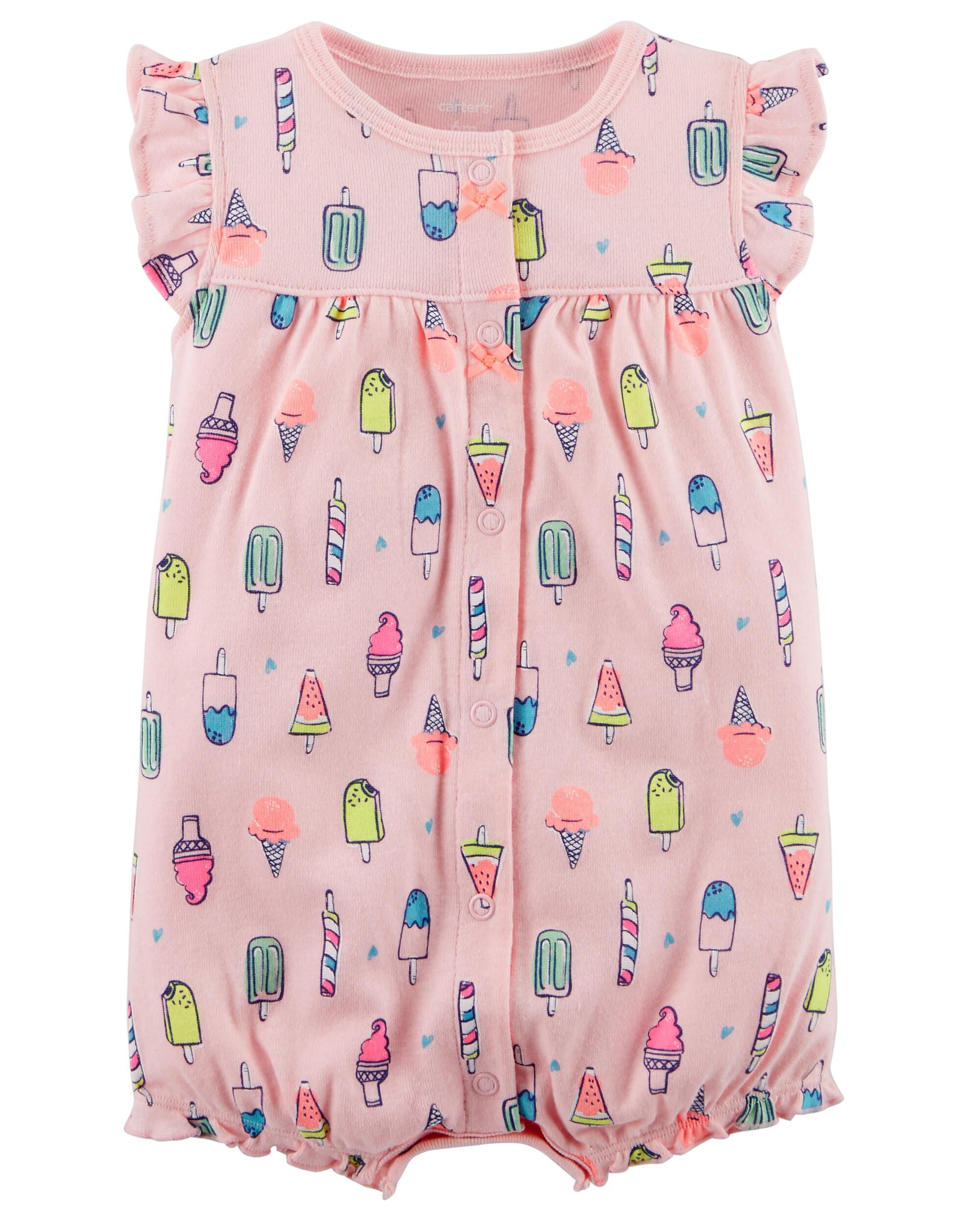 Carters Baby Girls Snap-Up Cotton Romper 9M, Ice Cream//Pink