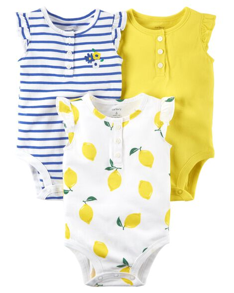 9bf8c0328085d Images. 3-Pack Flutter-Sleeve Bodysuits