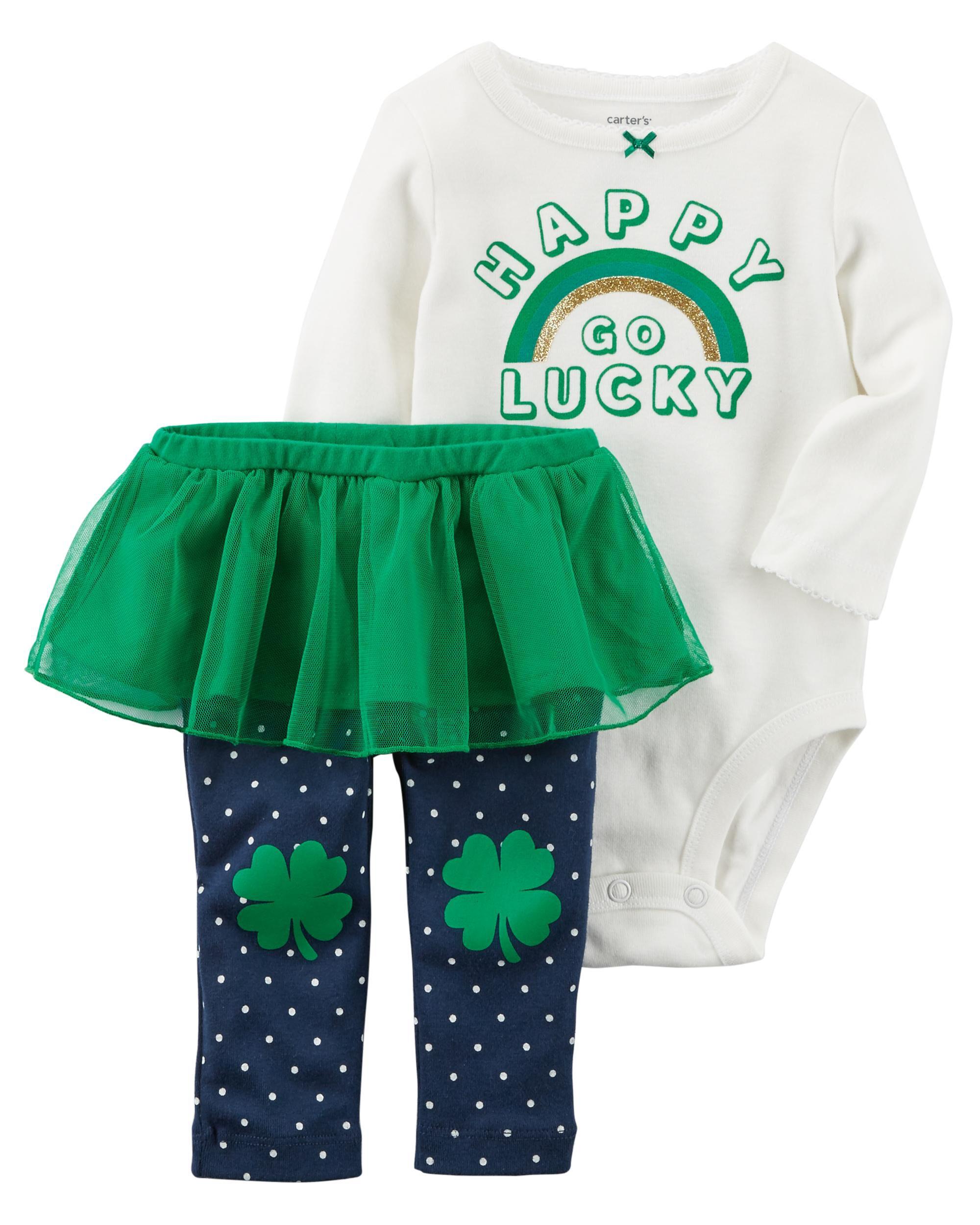 d8e2bf6cb6e 2-Piece St. Patrick's Day Bodysuit & Tutu Pant Set