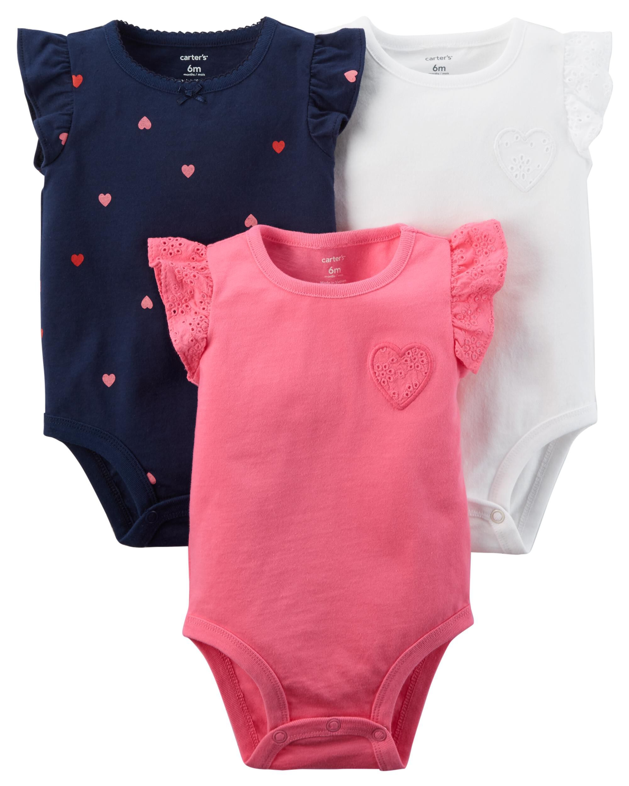 4487eea066f17 3-Pack Heart Flutter-Sleeve Bodysuits. Loading zoom
