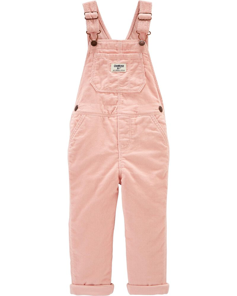 New OshKosh Girls Jersey-Lined Pink Corduroy Overalls 3T 4T 5T