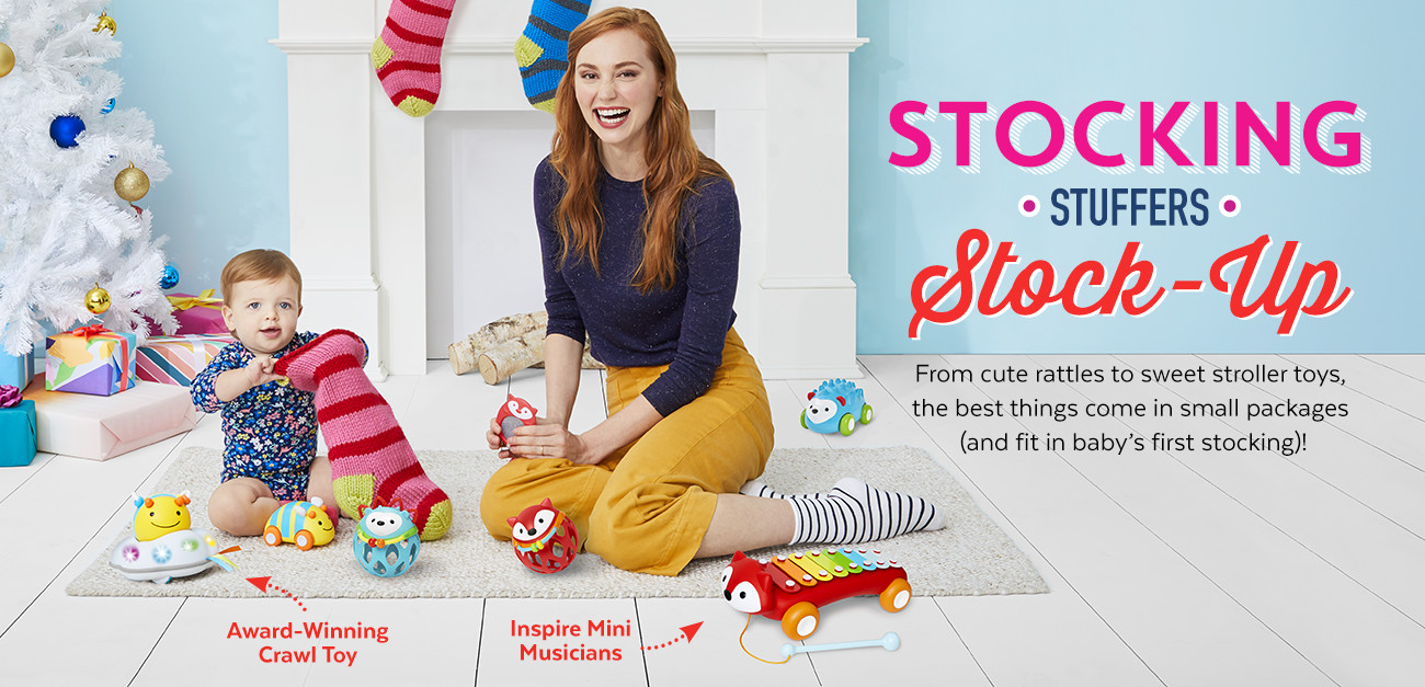 Stocking Stuffers Stock up | From cute rattles to sweet stroller toys, the best things come in small packages (and fit in baby's first stocking)!