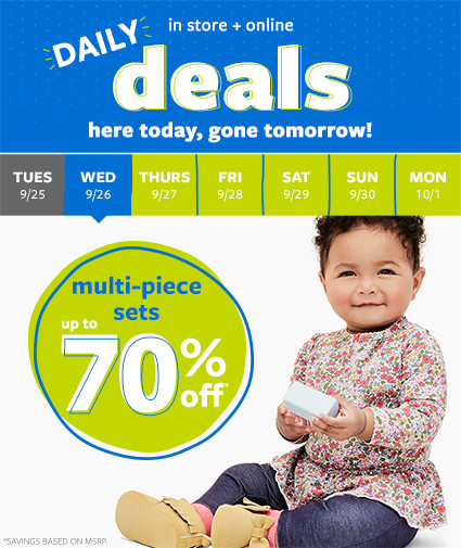 daily deals | in store + online | here today, gone tomorrow! multi-piece sets up to 70% off msrp