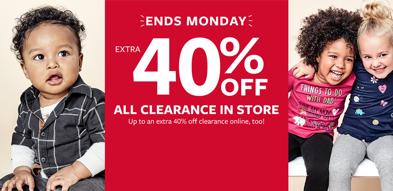 ends monday | extra 40% off clearance in store - up to an extra 40% off clearance online too