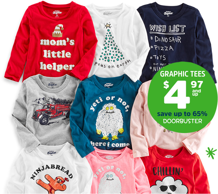 GRAPHIC TEES $4.97 and up | save up to 65% | DOORBUSTER