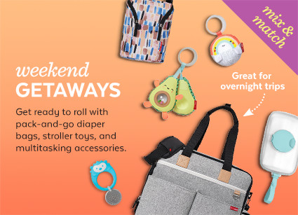 weekend getaways | get ready to roll with diaper bags, stroller toys, on-the-go accessories and more for busy families like yours