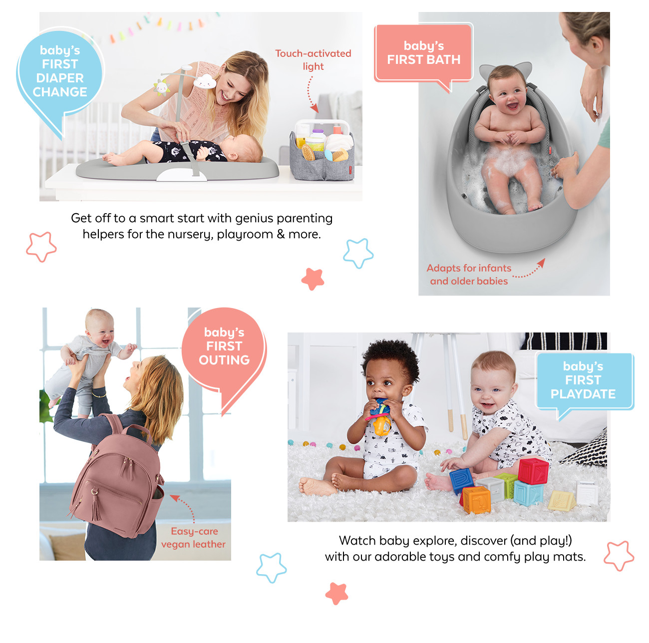 first diaper change | baby's first bath | baby's first outing | baby's first playdate