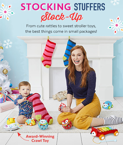 Stocking stuffers stock-up | from cute rattles to sweet stroller toys, the best things come in small packages (and fit in baby's first stocking)!
