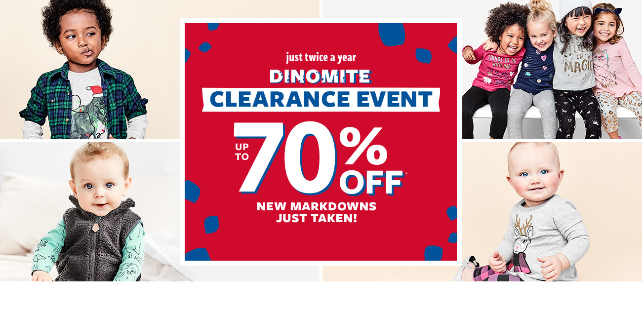 just twice a year | dinomite clearance event | up to 70% off clearance | new markdowns just taken